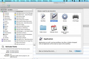 Automator - creating a new document